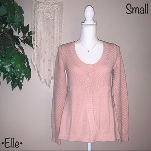 Elle Pink Chunky Knit Cardigan, Size Small